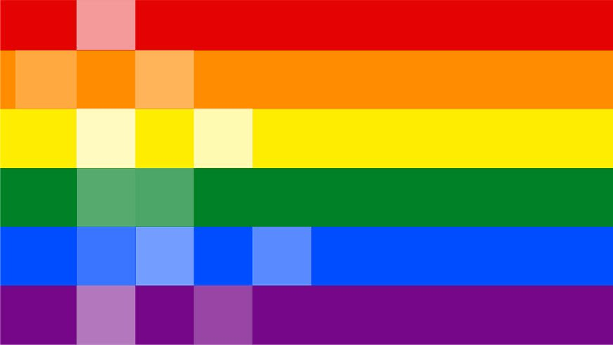 Regenbogenflagge mit gesofteten Quadraten