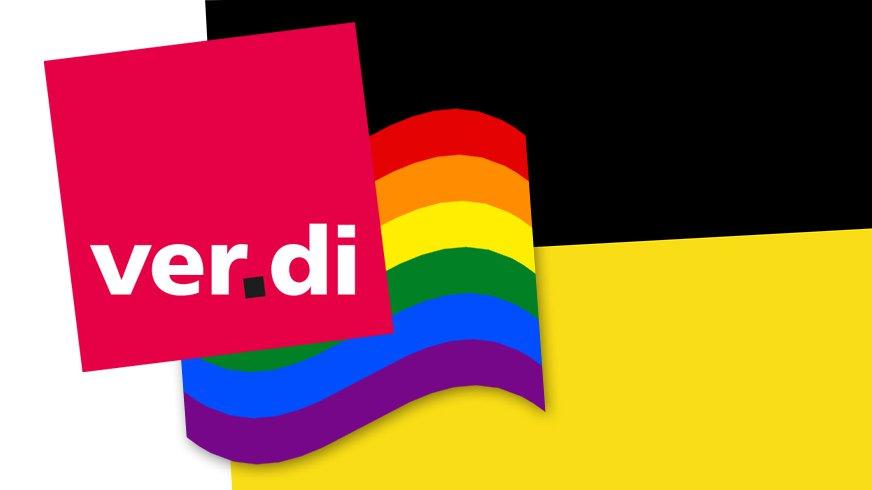 ver.di Regenbogen Symbol vor Landesflagge Baden-Württemberg