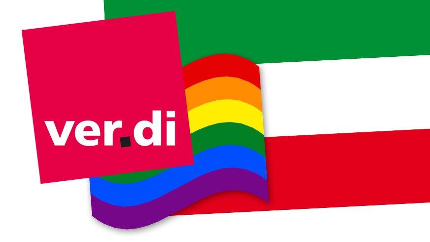 ver.di Regenbogen Symbol vor Landesflagge Nordrhein-Westfalen